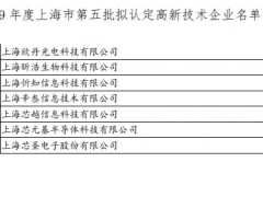 上海芯越入选2019 年度上海市第五批高新技术企业名单