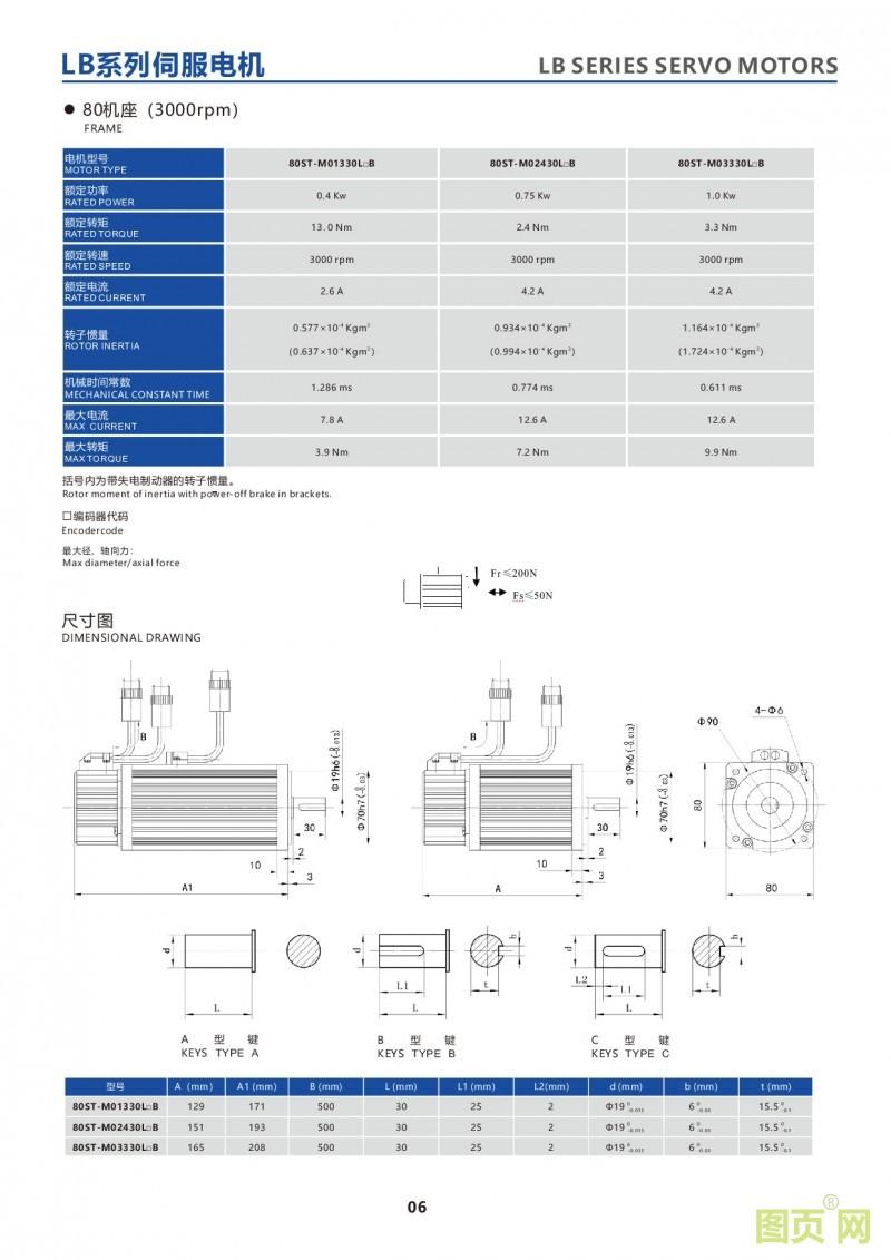 4-LB series 80ST servo motor华大LB系列80法兰伺服电机产品参数外观尺寸