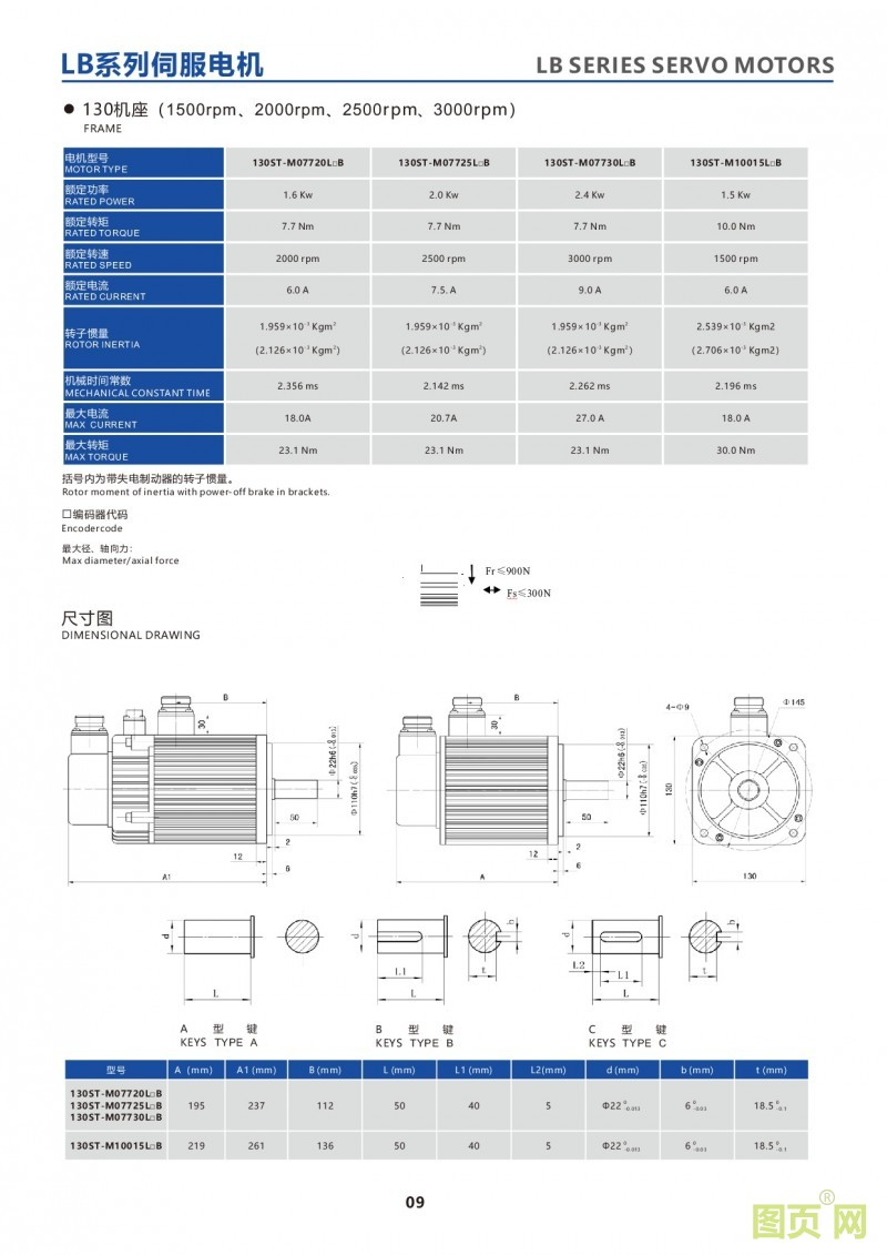 7-LB series 130ST servo motor华大伺服马达130ST电机参数及尺寸