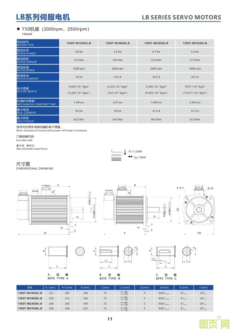 9-LB series 150ST servo motor 150ST电机参数及安装尺寸图