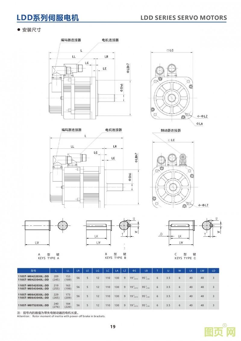 17-LDD series 110ST servo motor 华大23位绝对值电机 LDD系列110ST电机安装尺寸