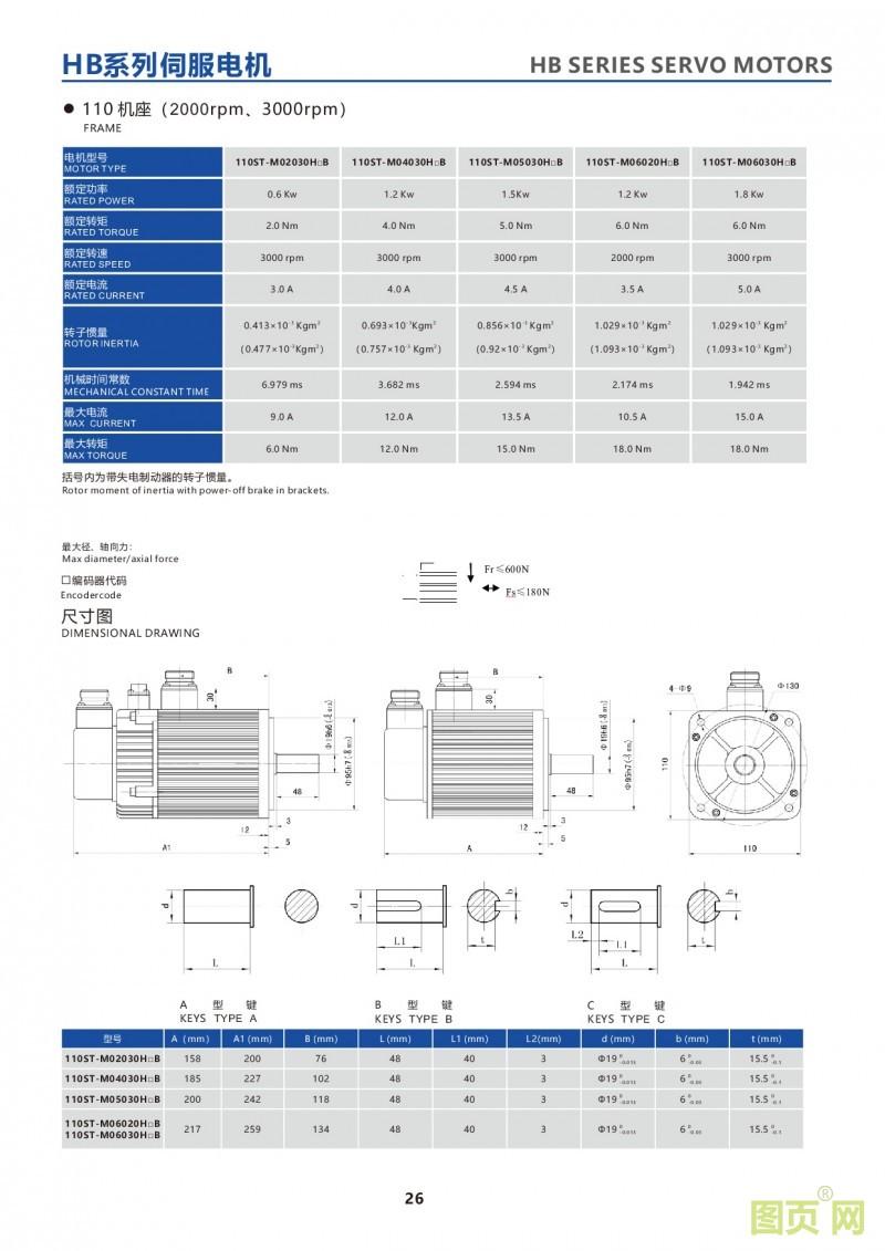 24-HB series 110ST servo motor 380V伺服电机 110法兰盘电机参数及尺寸